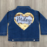 Personalised Baby Toddler Girls Denim Jacket Love Heart Sequin Reveals Name