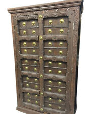 ANTIQUE CABINET OLD DOOR BRASS ARMOIRE HAND CARVED INDIAN STORAGE FURNITURE