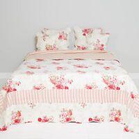 Clayre & Eef Plaid Tagesdecke Überwurf Bettüberwurf Shabby Vintage Landhaus Rose