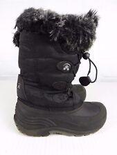 KAMIK SNOWGYPSY Girls sz 1 Black FAUX FUR WATERPROOF SNOW WINTER BOOTS