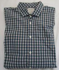 Billy Reid 'JOHN T' Sandard Cut Low Profile Spread Collar Plaid Shirt XL $195
