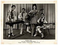 Vintage B&W Promo Photo Cheryl Lee & Carter Brothers BIG HAIR Gretsch Guitar