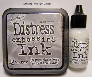 NEW!  Ranger Tim Holtz DISTRESS CLEAR EMBOSSING INK Stamp Pad & Re-Inker Refill