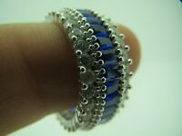 Turkish Handmade Jewelry 925 Sterling Silver Sapphire Stone Women Ring Sz 8