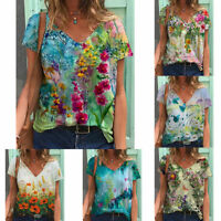 Plus Size Women V Neck Short Sleeve Blouse Casual Baggy T-Shirts Tunic Tops Tees