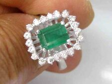 2.58CT Genuine Natural Emerald And Diamond Ring Solid 14K White Gold Made In USA