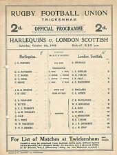 Harlequins vLondon Scottish 6 Oct 1928 RUGBY PROGRAMME