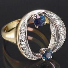 "Sculptural German Solid 18k Yellow White GOLD SAPPHIRE & DIAMOND ""O"" RING Sz M"