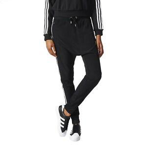 adidas Originals Women's Chiffon Slim Fit Drop Crotch Track Pants Trousers UK 4
