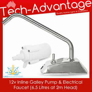 12v In-line Galley Pump & Faucet Tap Kit - Boat/Kitchen/Camping/Caravan/Marine