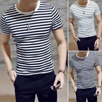 Mens Summer T-shirt Round Neck Black White Stripe Short Sleeve Tops Blouse Hot