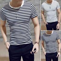 Mens Summer T-shirt Round Neck Black White Stripe Short Sleeve Tops Blouse Hot