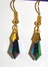 colourful irridescent bead and golden earrings jewellery