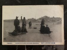 Mint Manchuria China RPPC Postcard Sledges On Frozen Liao River