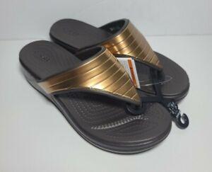 CROCS Monterey Metallic Brown Bronze Gold Wedge Sandals SIZE 7