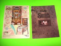 Bally SPEAKEASY 1982 Original Flipper Game Pinball Machine Promo Sales Flyer