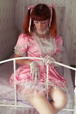 lockable Sissy maid pink Satin Dress Unisex  CD/TV Tailor-Made [G358]