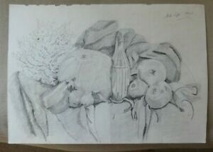 vintage pencil drawing still life vegetables and a bottle
