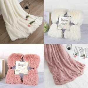 Big Fuzzy Blanket Thick Warm Huge Fluffy Throw Blankets Bedding White Pink Black
