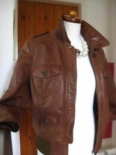 Ladies LIMITED COLLECTION M&S tan leather JACKET COAT SIZE UK 16 18 biker L/XL