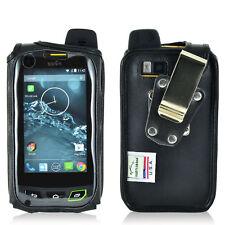 Turtleback Sonim XP7 Black Leather Fitted Phone Case Rotating Metal Belt Clip