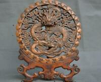 Chinese Boxwood Wood hand carved fengshui dragon auspicious statue screen plate