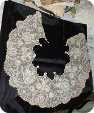 Ornate Antique Tiny Stitch Lace Collar Large As Found Vintage Cream # 2