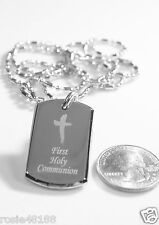 HOLY FIRST COMMUNION CHILD DOG TAG NECKLACE BEVELED STAINLESS STEEL PENDANT