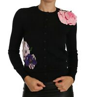 NEW $3200 DOLCE & GABBANA Sweater Cardigan Black Cashmere Floral IT36 / US2 /XS
