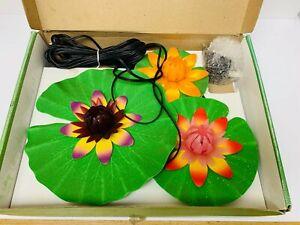 Vintage Floating Flower Lily Pads Pond Lights New ~ 3 Piece Retro Kitsch Garden