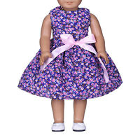 Handmade Purple Flower Bow Clothes Dress For 18inch Doll Low Price