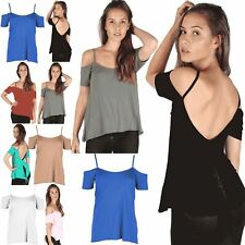 Womens Ladies High Low Cap Sleeves Off Shoulder Fishtail Back Cutout Strappy Top
