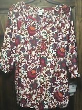Liz Claiborne Women's Small Shirt Eastern Floral Pattern NWT