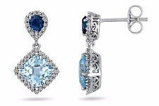 Zirkonia Ohrringe 925 Silber aquamarin blau weiß Damen Ohrhänger Ohrstecker