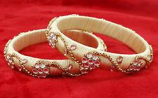 Goldtone White Silk Thread Wrapped 2Pcs Bracelets Indian Fashion Jewelry SZ 2*12