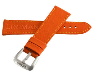 LOCMAN Men's 25mm x 20mm Orange Fabric Silver Buckle Band