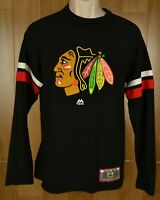 Majestic NHL Chicago Blackhawks Long Sleeve Black Shirt Patch Men's Size Small