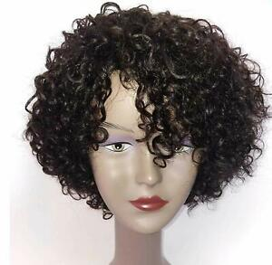 """HUA 10"""" Short Curly Real Human Brazilian Hair Wig Natural Black with Copper"""