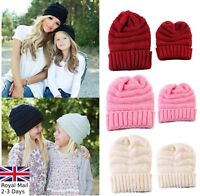 Women & Kids Girls Boys Knitted Beanie Hat Ladies Wool Winter Warm Skiing Cap
