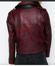 ASOS Premium Oxblood Leather Biker Jacket size usa 4