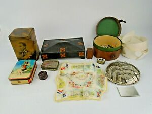Job Lot of Antique and Vintage Advertising Tins Leather Cases Purses