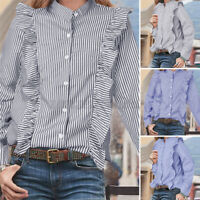 Women Long Sleeve Button Down Striped Casual Office Work Shirt Tops Baggy Blouse