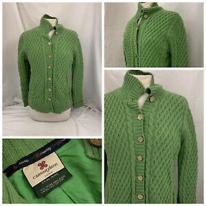 Carraigdonn Ireland Sweater Jacket M Women Green Wool Lined Button YGI U1-315