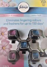 Febreze Car Clip On Air Vent Freshener 5 Pack 2 Blossom & breeze 3 Cotton Fresh