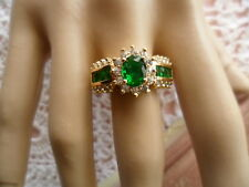 Antique Art Deco Vintage Gold Ring Emerald Green Sapphire White stones size 6