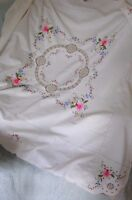 """VINTAGE HAND EMBROIDERED CROSS STITCH FLORAL ROSE & CROCHET TABLECLOTH 46"""" X 46"""""""