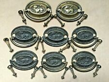 "RARE c1790 8 Pc Complete SET LION COUCHANT Pressed Brass DRAWER PULLS 2 5/8"" w"