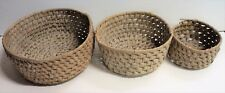 Ed Nichols - Lot of 3 Native American Hand Woven Coiled Baskets Corn Husk Wrap