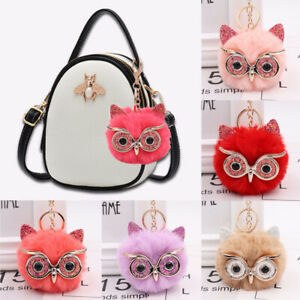 Fluffy Faux Fur Ball Keychain Owl Shaped Key Ring Car Women Handbag Pendant Gift
