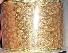 2.5 inch x 25 feet  Wired Ribbon Gold with Gold Sequins   B46